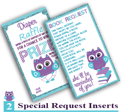 Girl Owl Book Request and Diaper Raffle