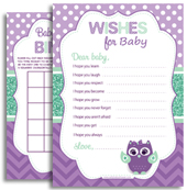 Purple Mint Green girl owl shower